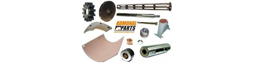 Stalowe elementy montowane w zabudowie urządzenia.
