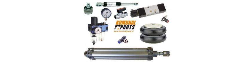 Podzespoły i części do instalacji pneumatycznej. Siłowniki, zawory, rozdzielacze, przewody, złączki.